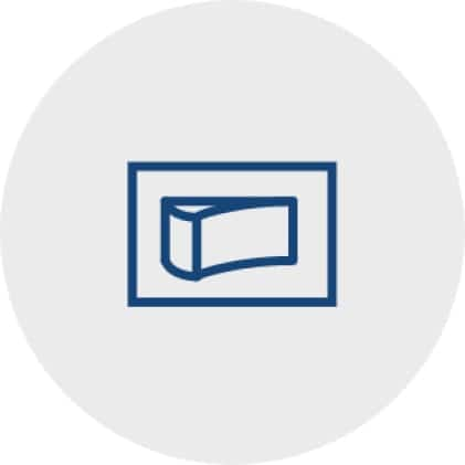 Simple, blue icon of a switch that represents the controls on the Glacier Range Hoods.