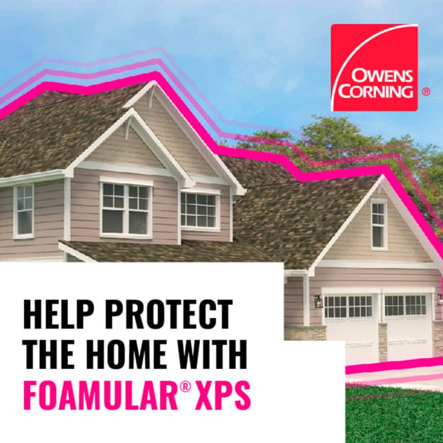 Home with pink outline and Owens Corning logo