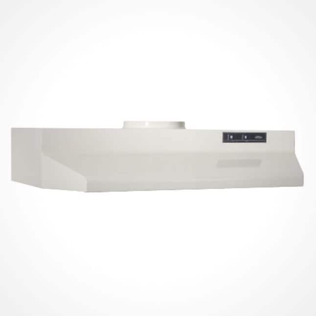Image of the off-white colored Broan under-cabinet range hood on a white background.
