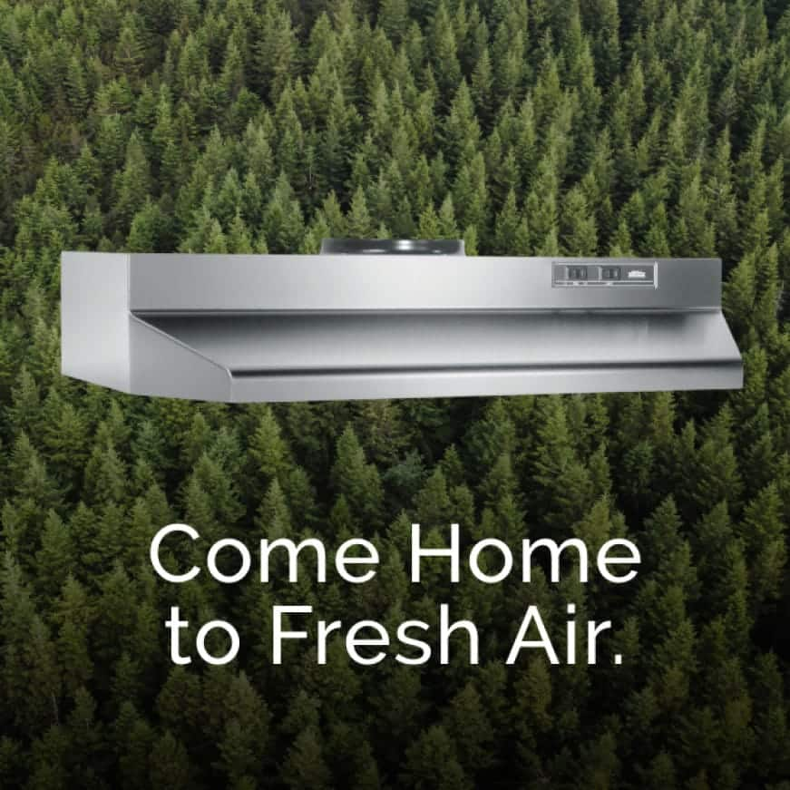 Image of a Stainless Steel 4200 Series Range Hood with evergreen trees behind it. Words over the top say: Come home to Fresh Air.