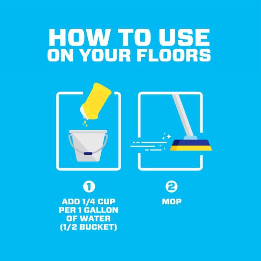 infographic how to use Mr. Clean all purpose cleaner on floors