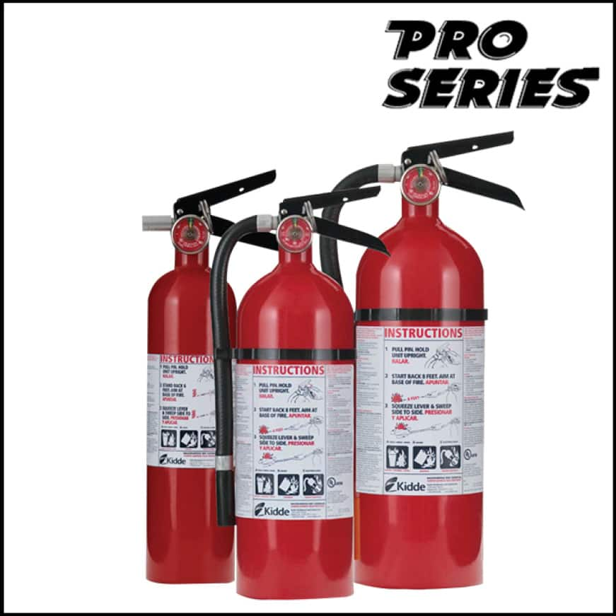 Pro series fire extinguishers are rechargeable