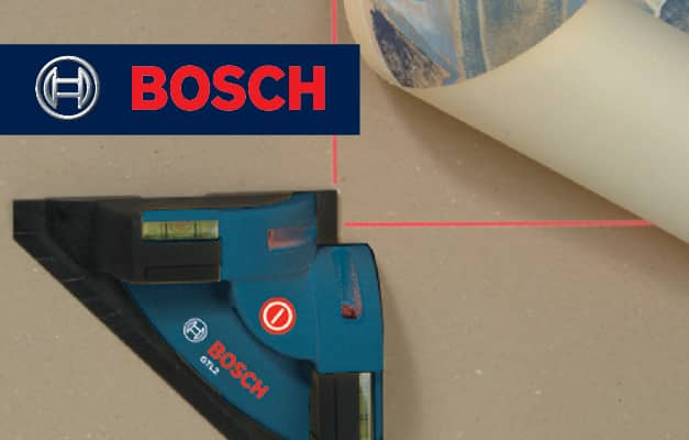 Bosch GTL2 projecting beams for squaring on floor.