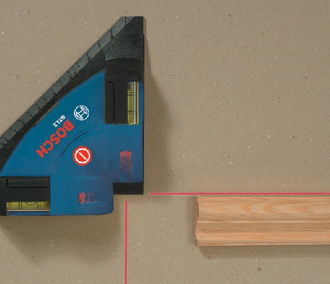 Bosch GTL2 projecting beams to square wall frame.
