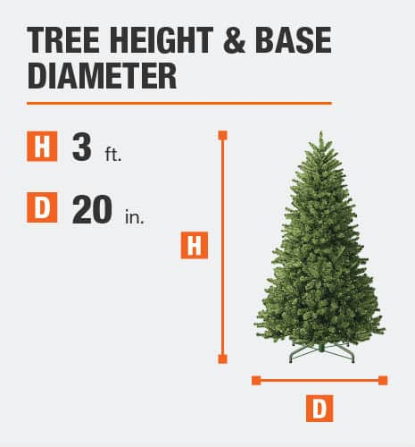Tree Height= 3 feet Base Diameter= 20 inches