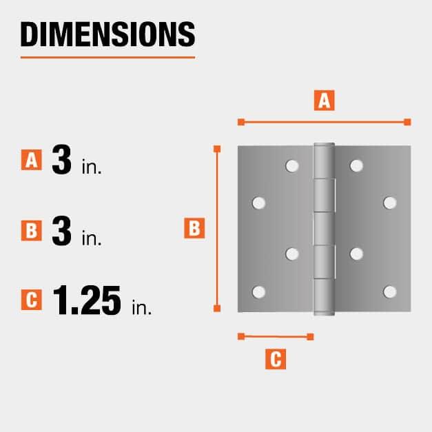 3 inch height x 3 inch width x 1.25 inch leaf width hinge dimensions