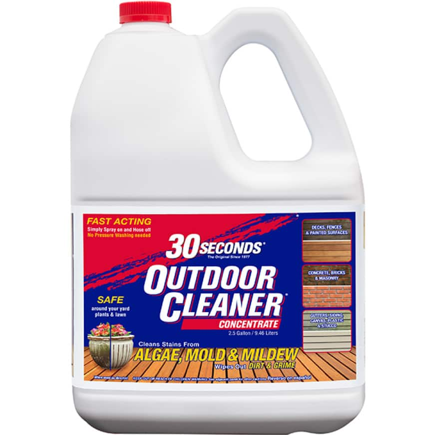 30 SECONDS Outdoor Cleaner Concentrate cleans stains on all outdoor surfaces