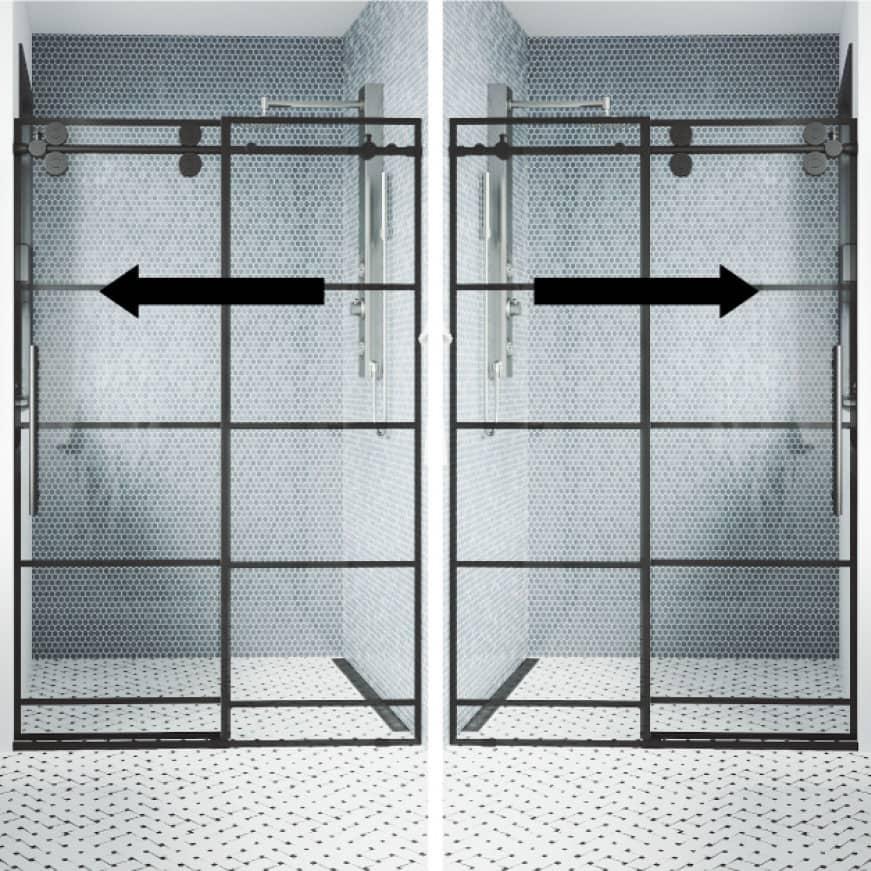 Right or left-side glass sliding shower door installation