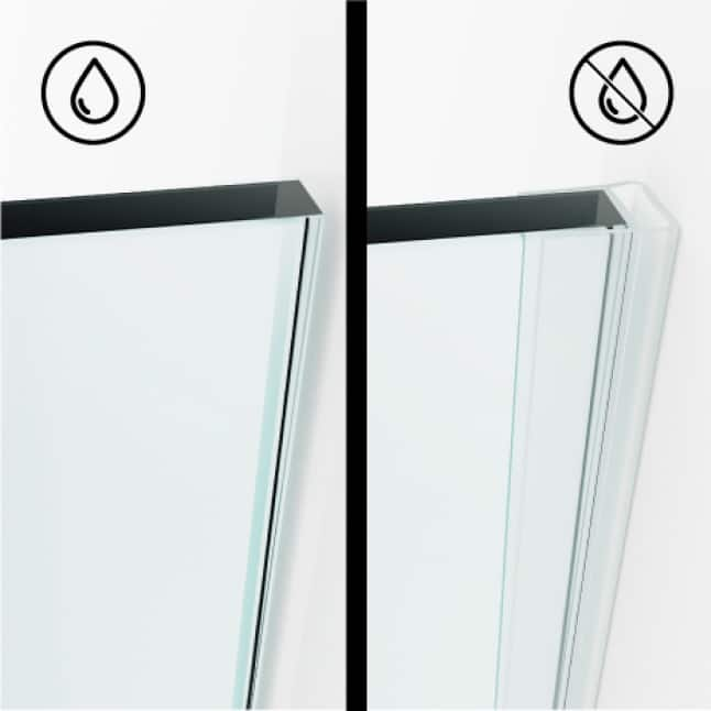 Full-length seal strips on the door keep the shower watertight