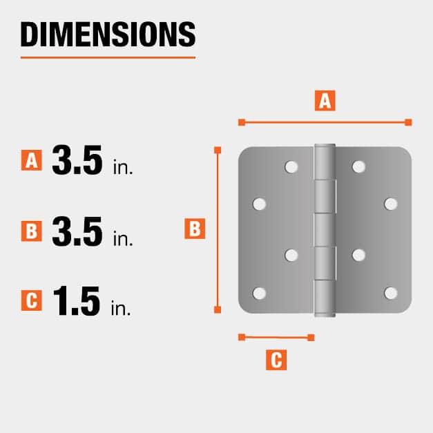 3.5 inch height x 3.5 inch width x 1.5 inch leaf width hinge dimensions