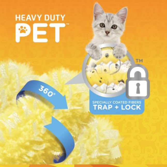Swiffer Duster Heavy Duty Pet Refills are designed to trap and lock pet hair with added Febreze odor defense.