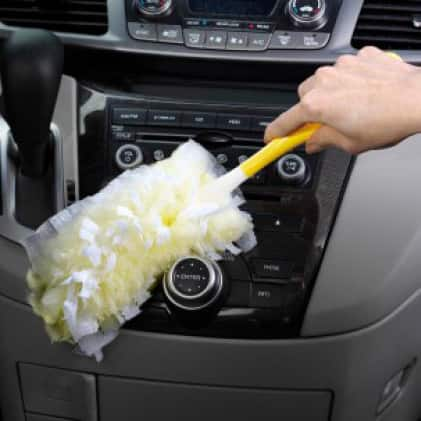 Swiffer Duster removes dust from tight spaces like stereo components.