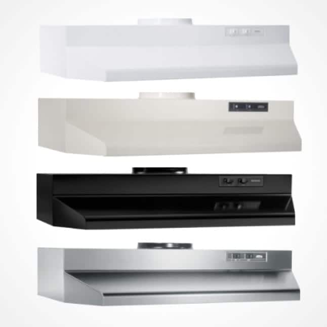 Image of the white, off-white, black, and stainless steel under-cabinet range hoods stacked on a white background.