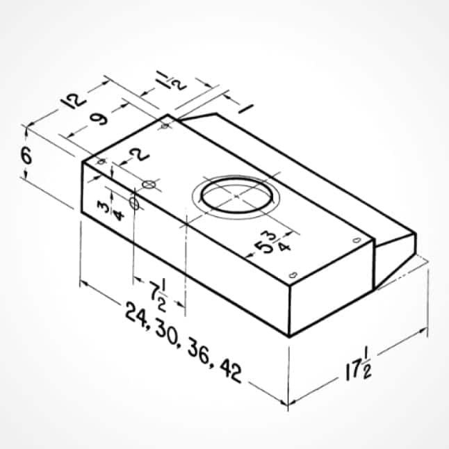 Line drawing of the dimensions of the Broan under-cabinet range hood.