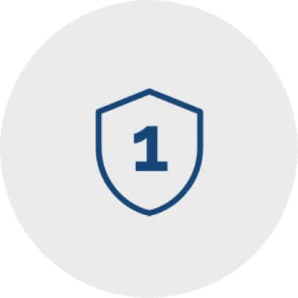 Icon of a protection shield with the numeral one inside it to represent a 1-year warranty.