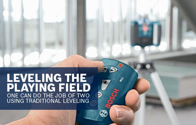 Bosch GRL300HVG being used with receiver to adjust between horizontal and vertical self-leveling.