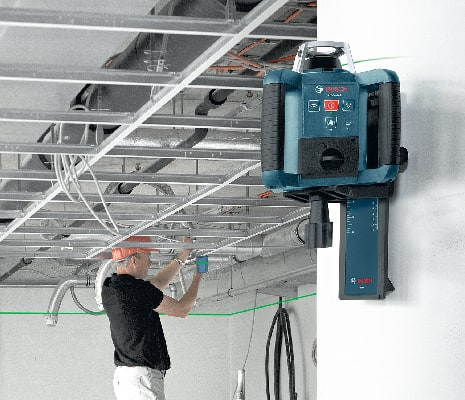 Bosch GRL300HVG mounted on wall to level tray ceiling.