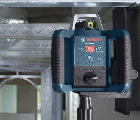 Close up of Bosch GRL300HVG for indoor layout and leveling.