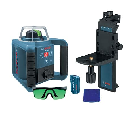 Features GRL300HVG also including RC1 remote, wall mount, laser glasses, target, carrying case, (2) D batteries.