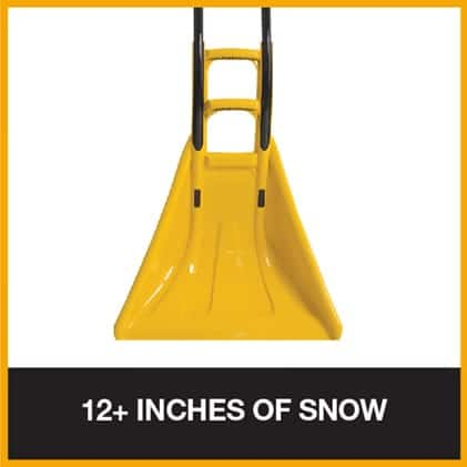 Industrial snow pusher for pushing large amounts of snow and ice