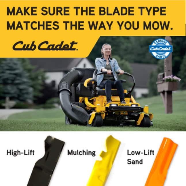 Lawn mower blade types, mulching, bagging, side discharge, low-lift, sandy conditions