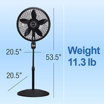 Lasko fan weighing 11.3 lb. with adjustable standing height