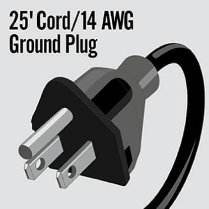 The 25' (ft), 14 AWG cord with ground plug is a standard safety feature.
