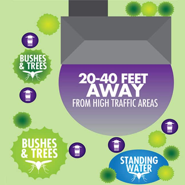 Place traps 20-40 feet away from high traffic areas, in between standing water and other insect breeding or resting areas.