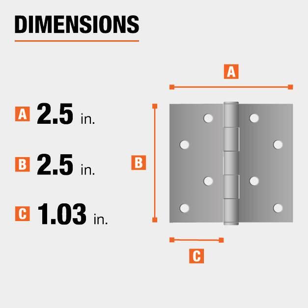 2.5 inch height x 2.5 inch  width x 1.03 inch leaf width hinge dimensions