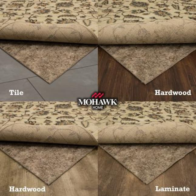 There are 4 tiles showing the same rug and rug pad being shown on different types of flooring depicting it is safe to use on all floors.