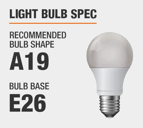 Recommended Bulb Shape: A19, Recommended Bulb Base: E26