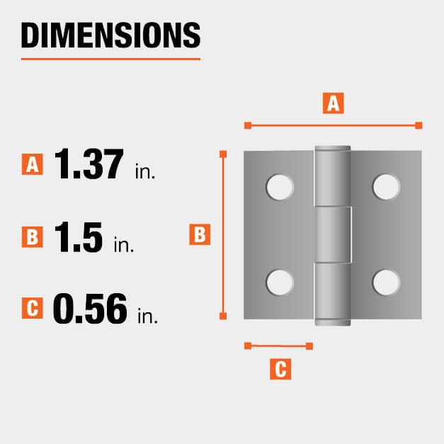 1.5 inch height x 1.37 inch width x 0.56 inch leaf width hinge dimensions