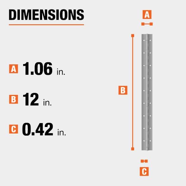 12 inch height x 1.06 inch width x 0.42 in leaf width hinge dimensions