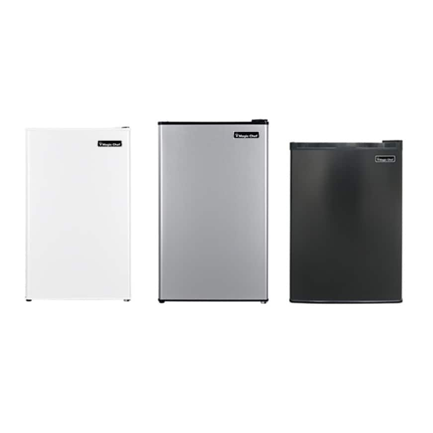 Magic Chef Refrigerators are available in white, black and stainless