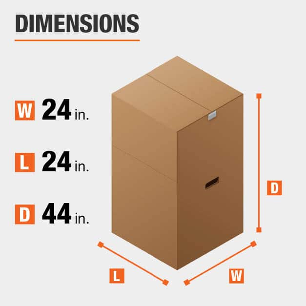 24 in. L x 24 in. W x 44 in. D Heavy-Duty Tall Wardrobe Moving Box with Metal Hanging Bar and Handles