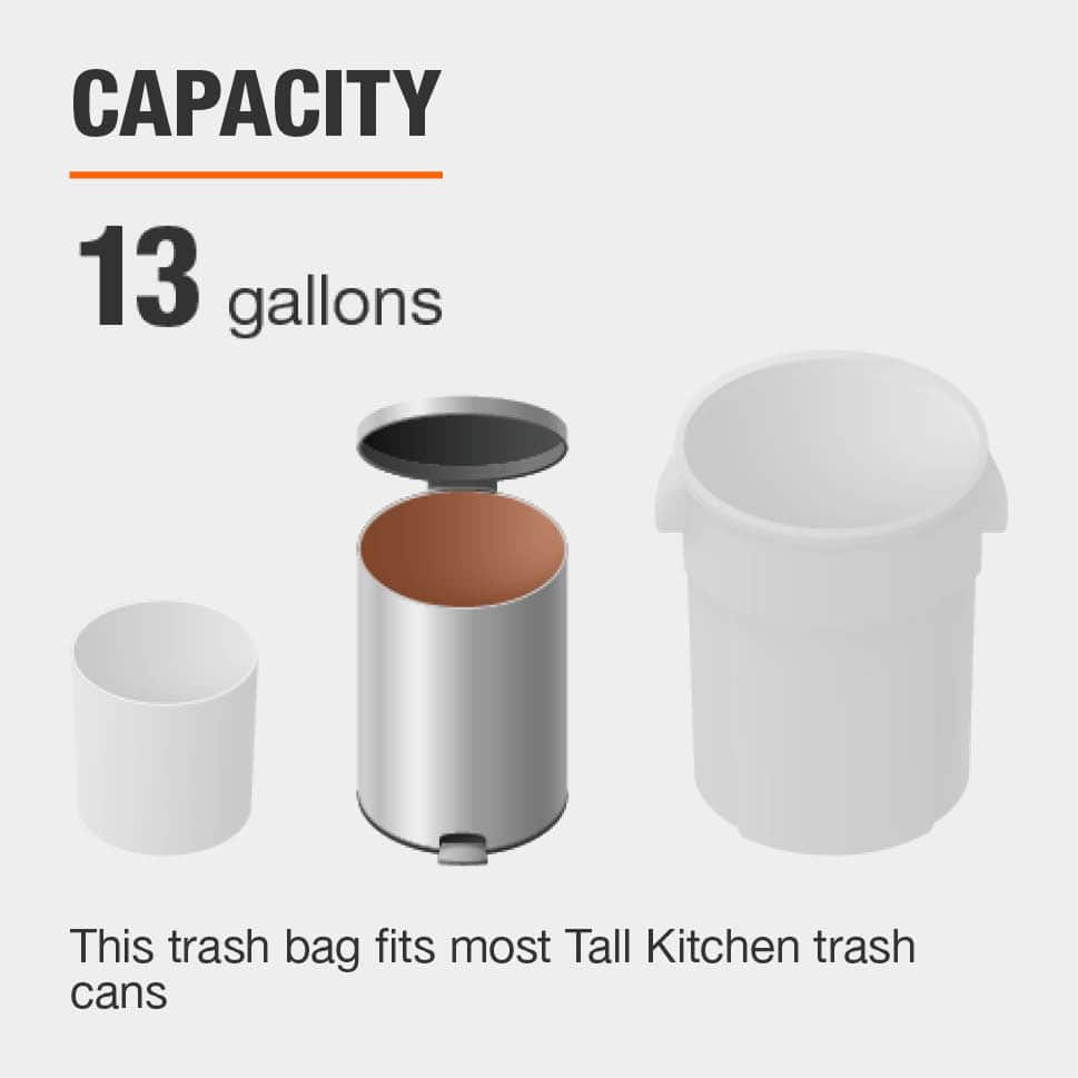 The Capacity for this Trash Bag is 13 gallons and fits most Tall Kitchen Trash Cans