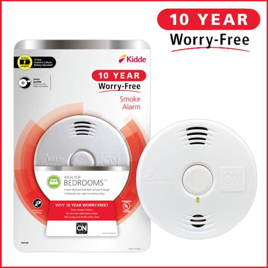 Ten years, zero worries, Kidde 10-Year Worry Free smoke alarms