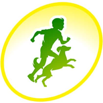 green icon child and dog running