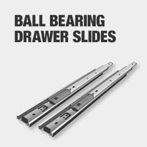 Tool chest drawers have ball bearing slides.