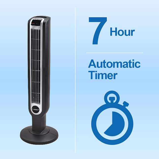 Tower fan with automatic electronic timer which can be set for up to 7 hours