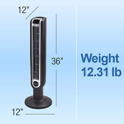 Lasko fan weighing 12.31 lb.