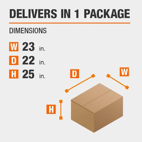 Delivers in 1 Package Dimensions of 23 inches wide, 22 inches deep, 25 inches deep.