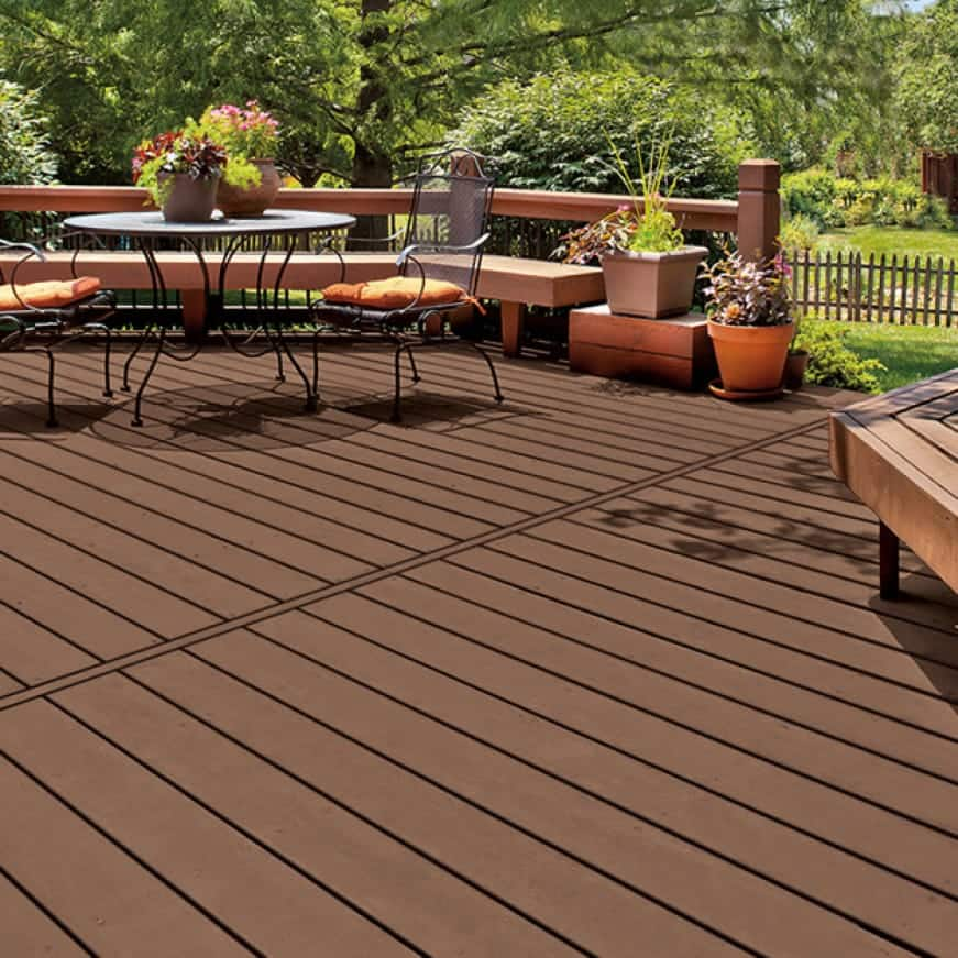 Exterior wood deck coated Solid Color Stain - Brown color Tuscan Walnut V-9