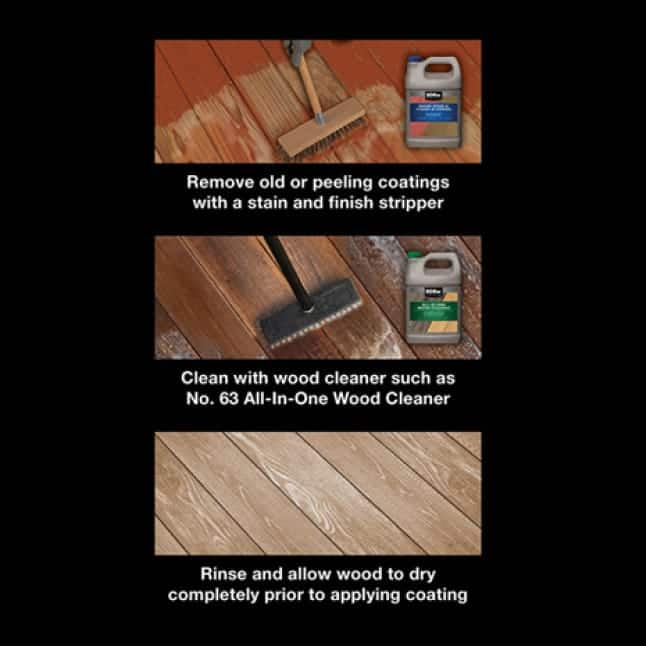 Prep Steps: First, remove old coating. Second, clean deck boards. Third, clean and dry deck boards.