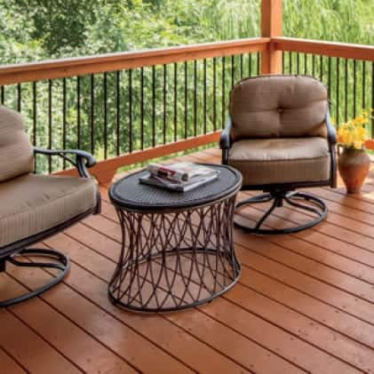 Exterior wood deck coated with Semi-Transparent Wood Stain - Burnt Orange color Royal Hayden ST-136