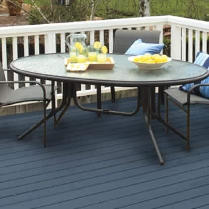 Exterior wood deck coated with Solid Color Stain - Blue color Wedgewood SC-107