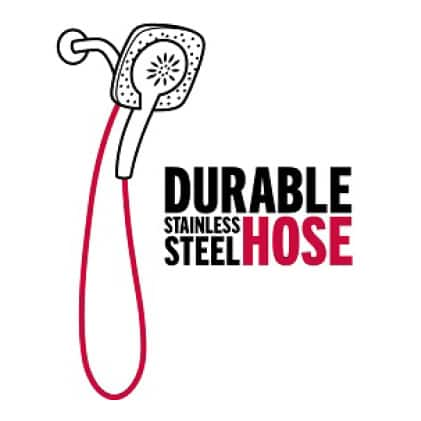 """Image is a black and white line drawing of an In2ition hand shower with hose highlighted in red with copy """"durable stainless steel hose"""""""