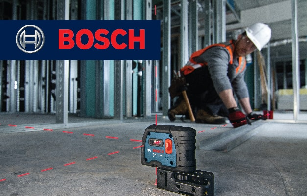 Bosch GPL 5 S projecting 5 points across room for accurate alignment.