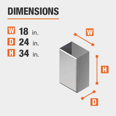The dimensions for this kitchen cabinet are 18 in. W x 24 in. D x 34 in. H