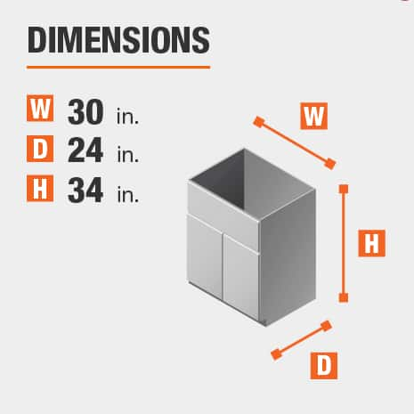 The dimensions for this kitchen cabinet are 30 in. W x 24 in. D x 34 in. H